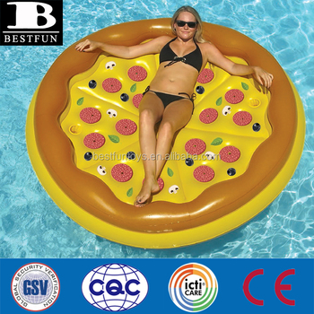 heavy duty personal pizza island pool float inflatable round pizza swimming raft lilo air bed