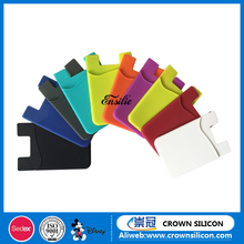 HOT sales 3m sticker silicone phone card wallet ,silicone mobile phone card holder