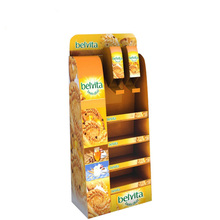 hot sale cardboard corrugated cookies free standing display point of sale stand shelves