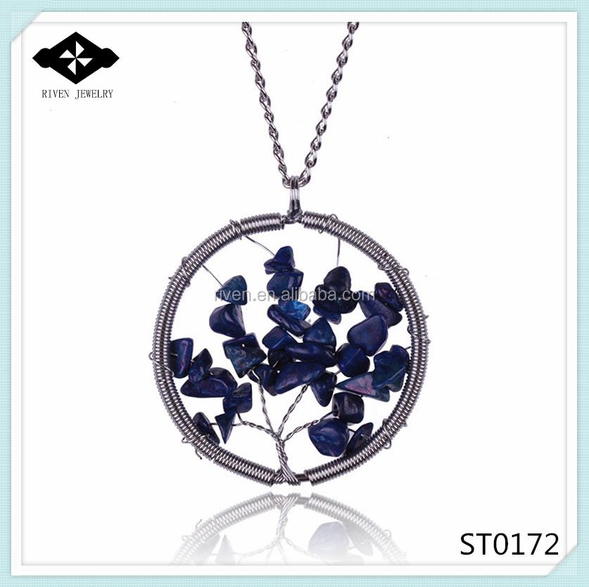 ST0172 Round Pendant Hot Sale Blue Stone Necklace Women Handamde Stone Jewelry 2015.jpg