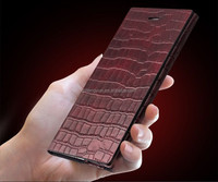 OEM manufacture crocodile pattern leather flip cover case for Huawei honor p6