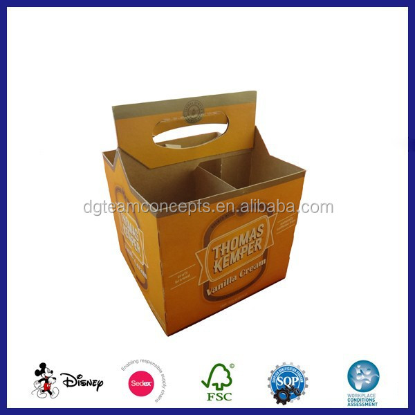4 Pack Cardboard Corrugated Beer Bottle Carrier