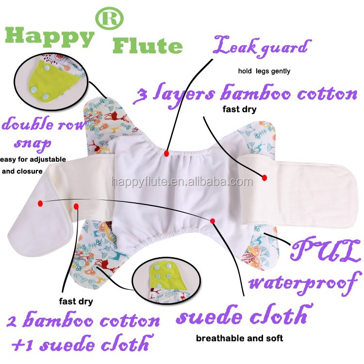 Happy Flute cotton AIO/AI2 Cloth Diaper with Cartoon Print Reusable Ecological Cloth Baby Diapers, Wholesale Washable Diapers
