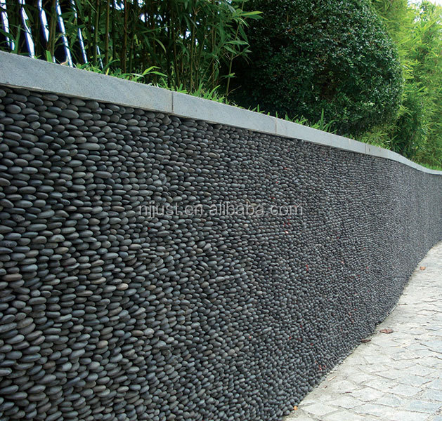 Nanjing Black Vertical Stacked Pebble Tile Standing Pebbe Mosaic Cladding Product On Alibaba