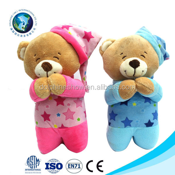 Cute plush toys for kids prayer praying bear lay me down to sleep prayer stuffed animal teddy bear