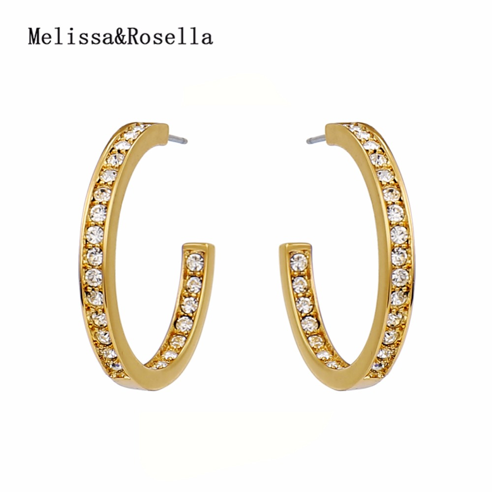 2017 Women's Copper Alloy Gold Plated Micro Paved Letter <strong>C</strong> Shape Hoop Earrings