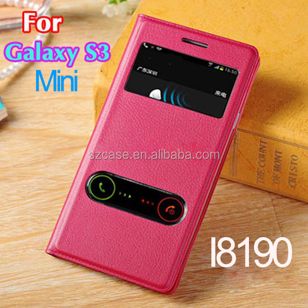 PU leather case cover for Samsung Galaxy S3 Mini smart phone window case for s3 mini i9180