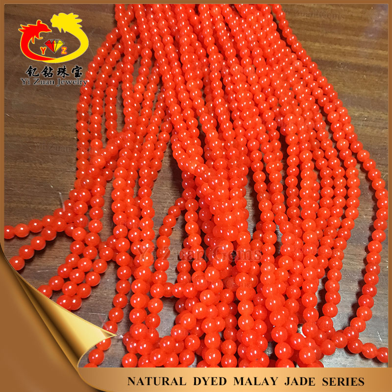 Dyed color malay jade ball beads red jasper stone jade jewelry wholesale