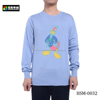 Lovely Cartoon Blend Cashmere Print Sweater, Men Blue Cute Print Cashmere Sweater
