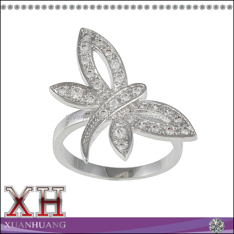 Best Quality Sterling Silverton Clear Cubic Zirconia Dragonfly Ring