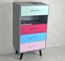 Eastern Mediterranean style 4 drawers colorful small bathroom vanity cabinet