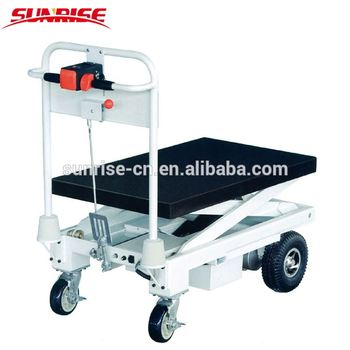 Cheap high quality 400kg Small Electric Hydraulic Double Scissor Lift Table Truck