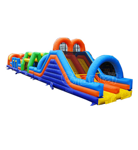 DOUBLE OBSTACLE RUN 27M cheap giant adult inflatable obstacle course for sale