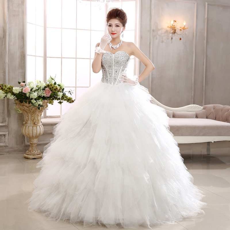 European Fashion Ivory White Color Strapless Puffy Crystal Feathered ...