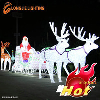 Led Santa Claus with deer car for Christmas decorations