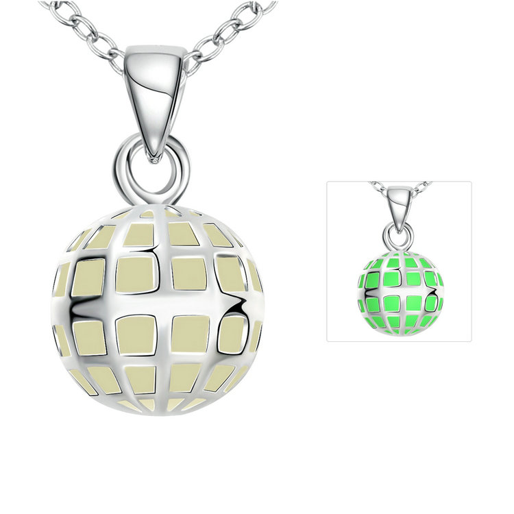 Jenia Fahion Green Wholesale Ball Necklace With Glow Crystal Stone Pendants