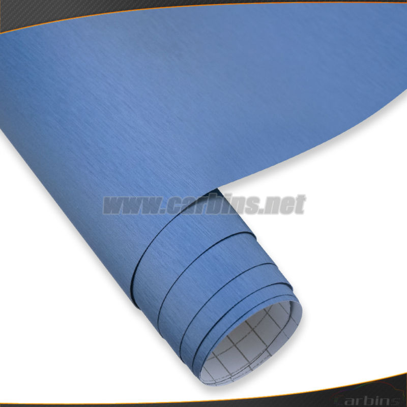 Blue metal brushed vinyl car wrap film bubble free car tuning