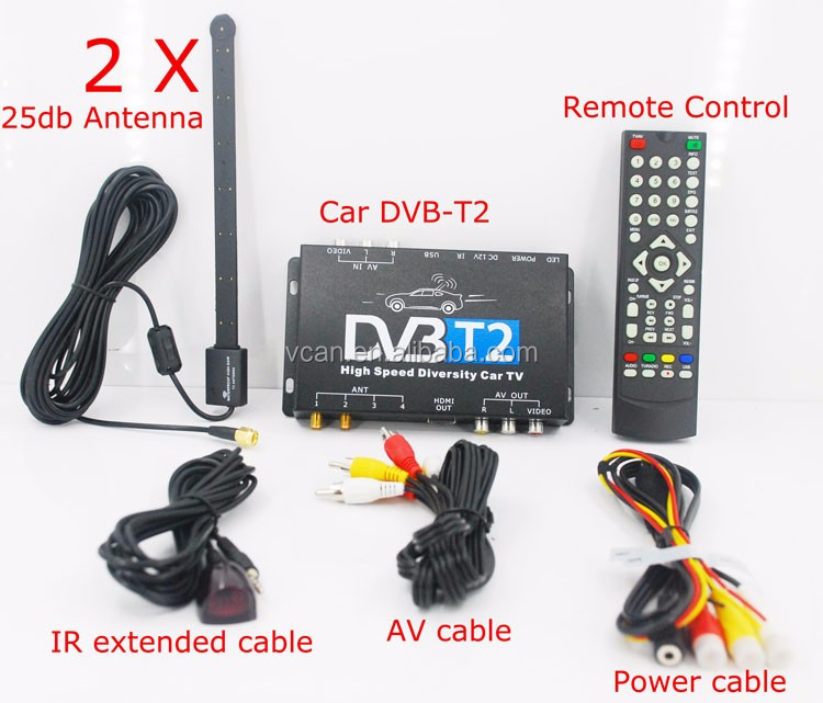 mobile digital dvb t2 car receiver tuner DVB-T221 cable tv set top box MULTI PLP Digital TV Receiver high speed