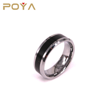 POYA Jewelry 8mm Women and Men's Tungsten Carbide Drop Glue Beveled Edges Promise Wedding Ring