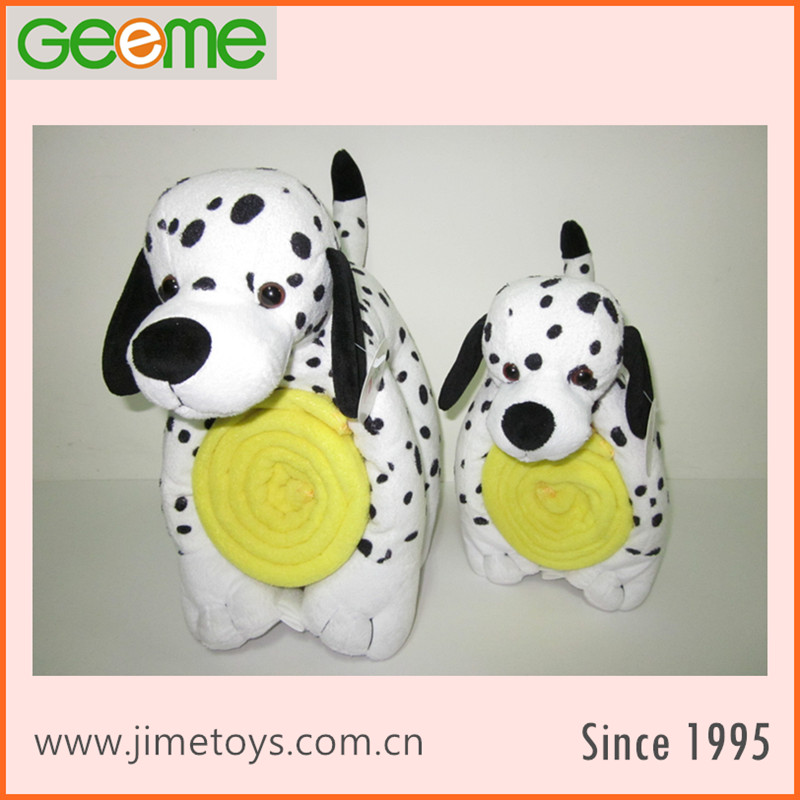 JM8366-1 Polyester Blanket with Plush Toy Spotty Dog