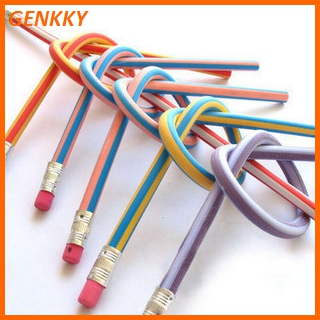 Soft Pencils For Kids Colorful Flexible Folding Bendy pencil set with eraser headed