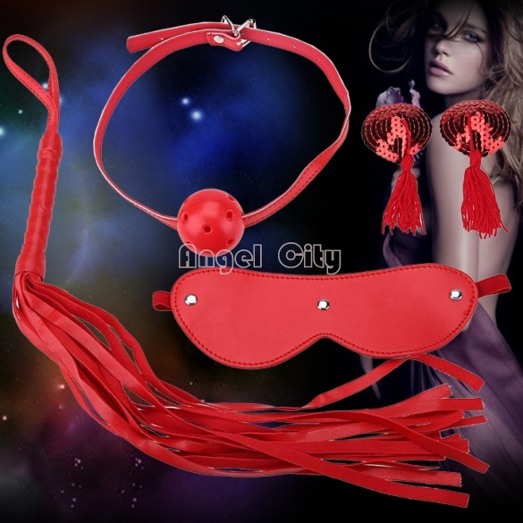 2015 New 4 Pcs Kit Set Roleplay Handcuffs Whip Rope Blindfold Ball Gag Se Toy 18