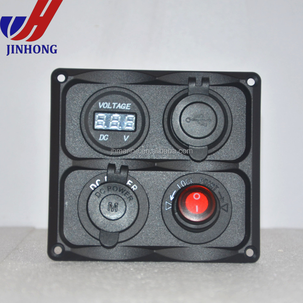 Neweset Marine Electric 24v marine socket panel & 4 hole plates with power /USB/voltmeter /Merit socket