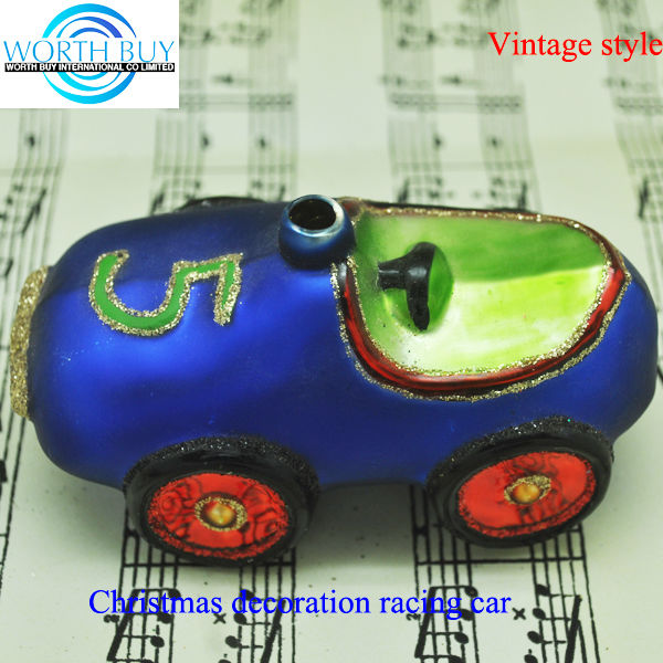 Vintage racing car hanging ornament, pure handmade christmas ornaments