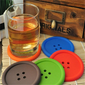 Magic Kitchen set Cute Silicone Round Button Coaster Cup Mats Home Table Decor Coffee Drink Placemat DHL free shipping