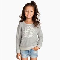 2015 New Cotton Gray Girls Letters Print Pullover Casual Hoodies Pockets T-shirts for Wholesale Haoduoyi