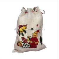 Promotional Christmas Gift drawstring jute Bag