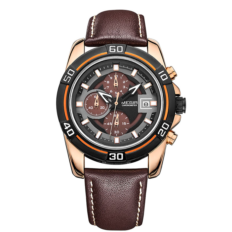 2016 designer luxury multi-function genuine leather charm quartz men's watch