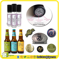 For best private energy drink beer wine glasses neck packag sticker 3d emboss gold foil cosmetic lipstick perfume bottle label