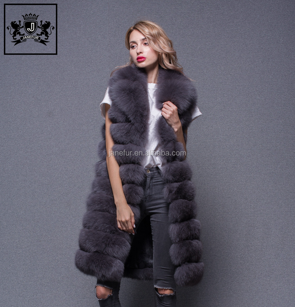 Russian style women winter high quality real silver fox fur vest