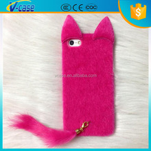 Lovely fox tail soft skin fur leather case for iphone 5