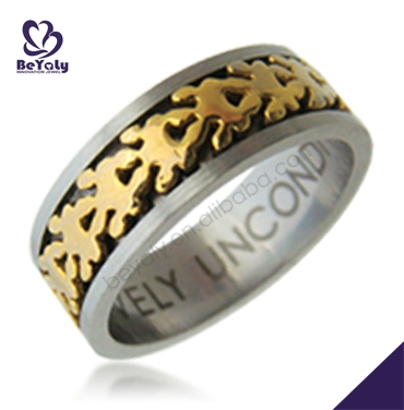 Laser cut shiny engraved chic fashion movable gold casting ring
