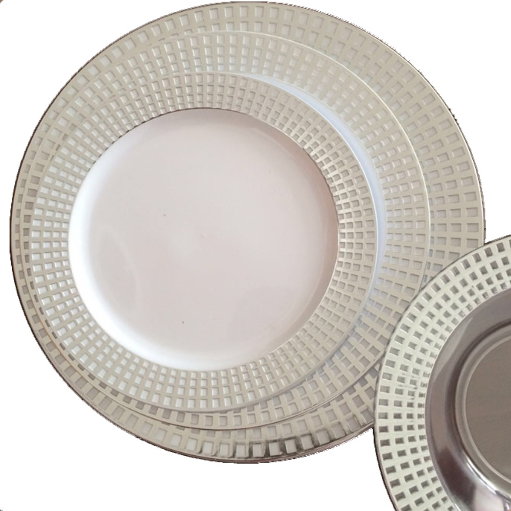 Disposable Plastic Silver Rim Dishes and Plates