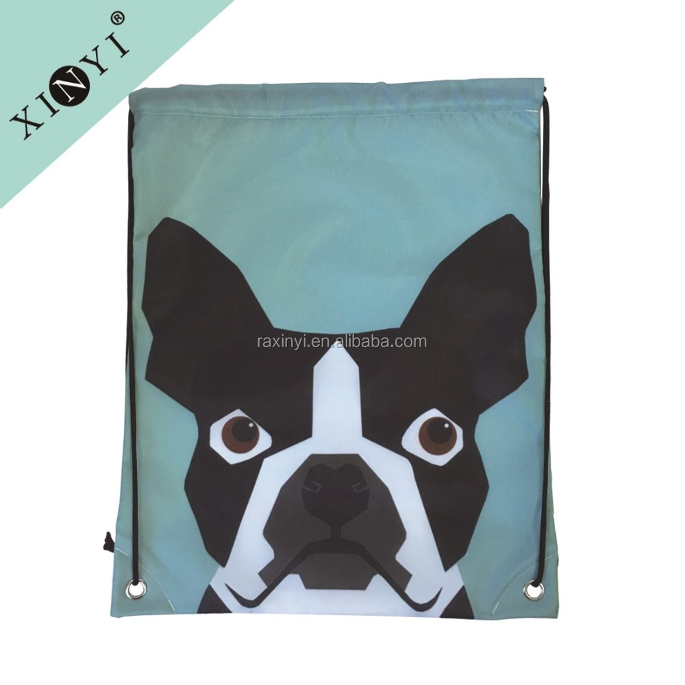 Lovely dog print kids drawstring backpack wholesale drawstring bags customized logo drawstring dust bag