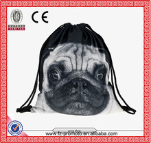 Backpacks print ANIMALS pug dog cat husky grumpy cat acid cat dalmation 3d print travel softback mochila harajuku drawstring bag