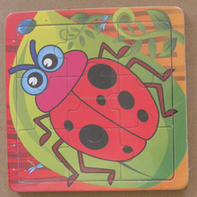 BSCI Factory 9 Pcs Disposable Plates Custom Paper Sticker Printing Insect Ladybug Wooden Jigsaw Puzzle Educational Toys For Kids