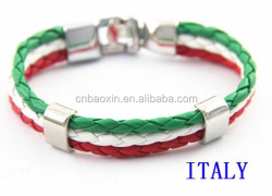 Popular Men's Braided Leather Cords Italian Flag Leather Bracelets