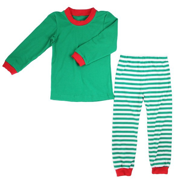 New Arrival Wholesale Green Stripe Mother Father And Me Girls Boys Matching Family Pajamas
