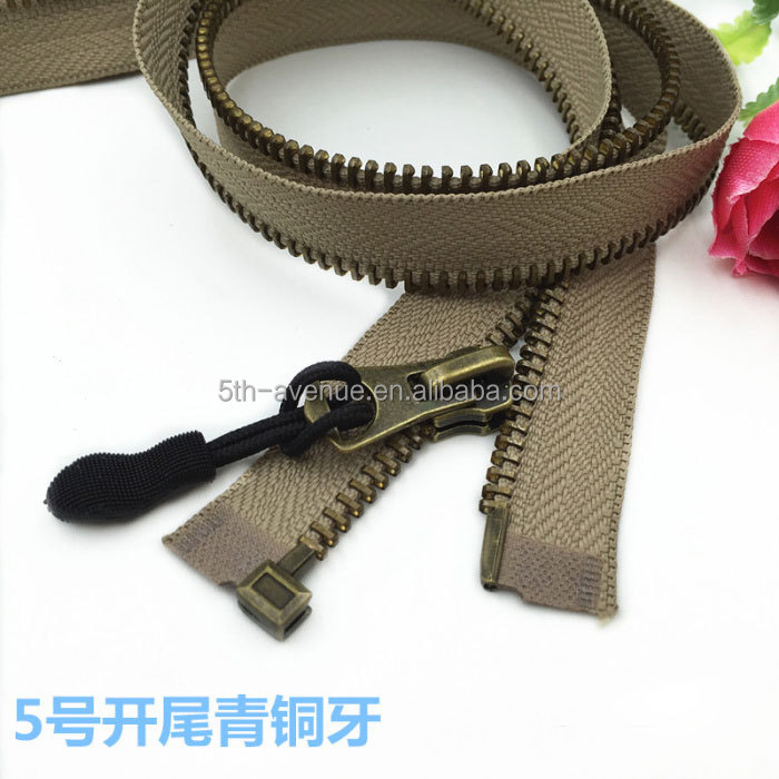Metal zipper bronze Color teeth special use for jacket down jacket coat pocket