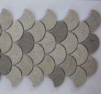MBHYA005-D3 Marble Fish Scale Fan Shaped ceramic mosaic wall tile