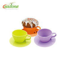 NEW Silicone Cupcake Mold Teacups Set, Cakes Small 3 Cup Cake Tea Cups & Saucers