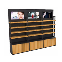 exhibition wooden wall cosmetic makeup display counter shelf stand
