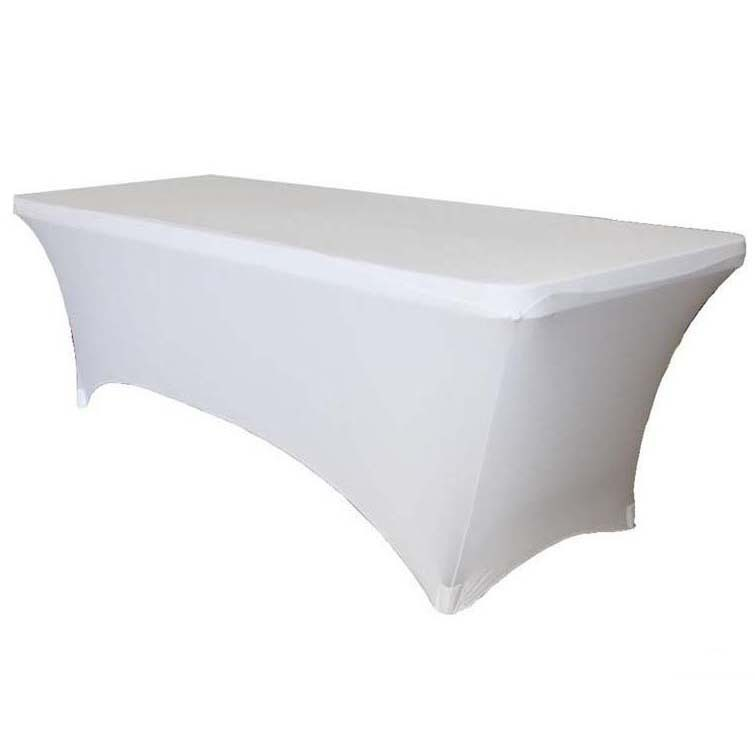 222 & Free shipping 20pcs White 6ft Rectangular Spandex Table Covers Lycra Stretch Table Cloths For Party Event Wedding Decoration