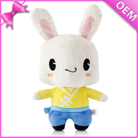 Plush Rabbit Toy OEM Design Colorful Mascot Rabbit Stuffed Toy