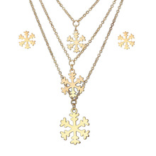 Christmas gold plated jewelry set stainless steel snowflake Pendant Wholesale multi-layer collarbone necklace Earrings set