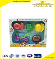 Kids plastic happy kitchen toys mini emulational cutting set of fruit and vegetables